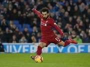 Mohamed Salah erzielt hier auf Foulpenalty Liverpools Siegestor (Bild: KEYSTONE/EPA/JAMES BOARDMAN)