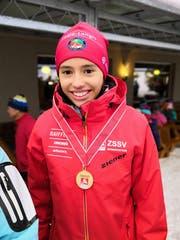 Die 14-jährige Sarnerin Ronja Rietveld gewinnt ihren ersten ZSSV-U15-Biathlon-Titel.