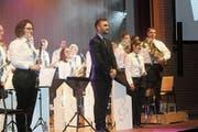 Auftritt im Gemeindezentrum Mörschwil: Die Bürgermusik Mörschwil unter Leitung von Roman Pizio. (Bild: Manuela Bruhin)