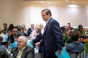 Heimspiel in der Fremde: Gerhard Pfister vor seiner Rede im Wittenbacher OZ Grünau. (Bild: Michel Canonica)