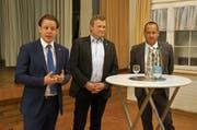 Die Kandidaten: Yves Noël Balmer, Alfred Stricker und Hansueli Reutegger (von links) stellen sich am 10. Februar der Wahl. (Bild: Martin Brunner)