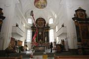 Die Pfarrkirche Alpnach wird gereinigt und restauriert. (Bild: Marion Wannemacher (Alpnach, 11. Januar 2019))