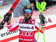 Marcel Hirscher bejubelt seinen neunten Saisonsieg (Bild: KEYSTONE/JEAN-CHRISTOPHE BOTT)