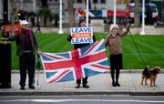 Brexit-Befürworter in London. (Bild: EPA/WILL OLIVER)