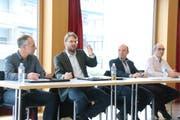 Die Podiumsteilnehmer zum Thema Verkehr: Bruno Egger, Peter Imbach, Stefan Koster und Manfred Wagner. (Bild: Barbara Hettich)