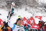 Niels Hintermann nach seinem Kombinations-Sieg am Lauberhorn. (Bild Peter Schneider/Keystone (Wengen, 13. Januar 2017))