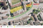 Aktueller Plan für eine Flanierzone auf einem Abschnitt der Obergrundstrasse und eine neue Verkehrsführung am Pilatusplatz. (Visualisierung: Stadt Luzern)