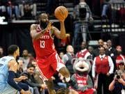 James Harden zeigt gegen die Memphis Grizzlies eine fantastische Vorstellung (Bild: KEYSTONE/AP/DAVID J. PHILLIP)