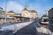 Die Stadt plant eine separate Busspur auf der St. Leonhard-Strasse zwischen Gäbris- und Lavaterstrasse. (Bild: Urs Bucher)