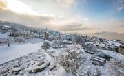 Am Freitag ganz in weiss, inzwischen wieder schneefrei: Blick auf die Stadt Zug. (Leserbild: Daniel Hegglin, 11. Januar 2019)