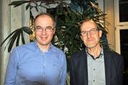 Leiteten ihre erste Versammlung: Kirchenpfleger Felix Romann und Präsident Thomas Siegfried. (Bild: Sabrina Bächi)