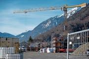 In Gebiet Schürmatt entstehen rund 80 Wohnungen. (Bild: Corinne Glanzmann (Stansstad, 16. Januar 2019))