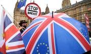 Oppositionsführer Jeremy Corbyn stellte nach der Zurückweisung des Brexit-Abkommens ein Misstrauensvotum gegen Mays Regierung. Im Bild: Demonstranten vor dem Parlament. (Bild: EPA/Neil Hall)