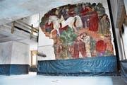 Das aus dem Altbau gerettete Wandbild von Willy Fries hat seinen Platz schon bezogen. (Bild: pd)