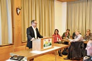 Regierungsrat Josef Hess referiert zur Zersiedelungsinitiative. (Bild: Philipp Unterschütz (Alpnach, 15. Januar 2019))