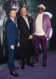 Die drei Superhelden in Glass: (von links) James McAvoy, Bruce Willis und Samuel L. Jackson. Bild: Evan Agostini/Invision/AP)