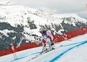 Beat Feuz unterwegs auf der Lauberhorn-Abfahrt. (Bild: Gabriele Facciotti/AP Photo (Wengen, 17.Januar 2019))