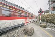 Der Bahnübergang Krienser-/Horwerstrasse. (Bild: Pius Amrein (Kriens, 22. Februar 2018))