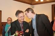 Aufgeräumte Stimmung an der Jubiläums-Versammlung: Präsident Thomas Müller (links) mit Vizepräsident Martin Sigg. (Bild: Marion Wannemacher (Flüeli-Ranft, 16. Januar 2019))