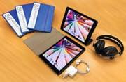 Die geplanten Investitionen für die Schüler der Volksschulgemeinde Bischofszell: Tablet (iPad), Tastatur und Kopfhörer. (Bild: PD)