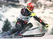 Michael von Grünigen 1999 im Slalom von Wengen, wo er als Zweiter auf dem Podest stand (Bild: KEYSTONE/ALESSANDRO DELLA VALLE)