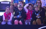 Die Federer-Kinder Myla Rose, Charlene Riva (beide 9), Lenny und Leo (beide 4) im Melbourne Park. (Bild Clive Brunskill/Getty Images (Melbourne, 13. Januar 2019))