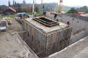 Bauarbeiten an der zweiten Reservoirkammer für das Reservoir Gubermatt. (Bild. PD (Sarnen, 22. Oktober 2018))