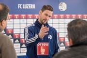FCL-Torhüter-Legende David Zibung (34) am Mittwoch anlässlich der Medienkonferenz vor dem Trainingsauftakt zur Rückrunde. (Urs Flüeler/Keystone (Luzern, 2. Januar 2019))