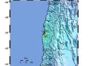 Das Zentrum des Bebens lag im Westen Chiles an der Küste. Es wurde vorübergehend ein Tsunami-Alarm ausgelöst. (Bild: KEYSTONE/EPA USGS/USGS / HANDOUT)
