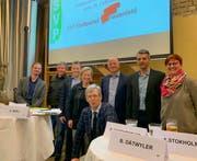 Die sieben Kandidatinnen und Kandidaten für den Frauenfelder Stadtrat sowie Stadtpräsidiumskandidat Anders Stokholm. (Bild: PD)