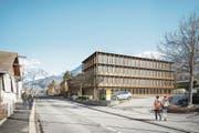 So wird das neue Verwaltungsgebäude «Ewolution» des EWO in Kerns aussehen. (Visualisierung: PD/EWO)