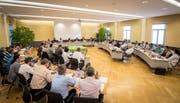 Blick in die Sitzung des Kreuzlinger Gemeinderates vom 14. Juni 2018. Die 40 Sitze werden am 31. März neu zugeteilt. (Bild: Reto Martin)