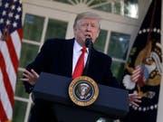 US-Präsident Donald Trump bei der Ankündigung des vorläufigen Endes der Haushaltssperre am Freitag im Rosengarten des Weissen Hauses. (Bild: KEYSTONE/AP/EVAN VUCCI)