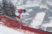 Beat Feuz landet in Kitzbühel einmal mehr auf dem zweiten Rang. (Bild: Christophe Pallot/Getty (Kitzbühl, 25. Januar 2018))
