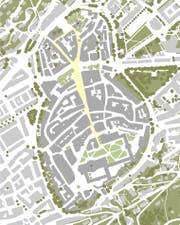 """Schematische Ansicht der Altstadt mit der """"Trompete"""": Jenem Teil der Marktgasse, der sich gegen den Bohl hin leicht ausweitet. (Bild: PD)"""