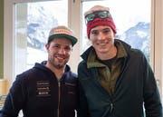 Ivan Mattli durfte mit dem Baumeisterverband den Skiprofi Beat Feuz persönlich treffen. (Bild: PD)