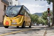 In Sion VS verkehrt bereits ein selbstfahrender Bus. Ohne Chauffeur, wie der Name schon sagt. Bild: Cyril Zingaro/Keystone