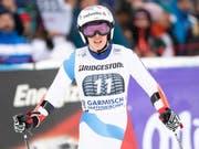 Michelle Gisin mit kritischem Blick nach ihrem Ausscheiden beim Weltcup-Super-G in Garmisch-Partenkirchen (Bild: KEYSTONE/EPA/LUKAS BARTH-TUTTAS)