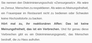 Die Lesbenorganisation Schweiz bezeichnet ihre Gegner im aktuellen Newsletter als «reaktionäre Affen». (Bild: Screenshot Newsletter Lesbenorganisation Schweiz, 2019)