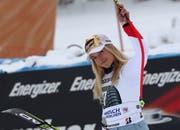 Zufrieden nach ihrem dritten Platz: Lara Gut-Behrami. (Bild: Stephan Jansen/Keystone, Garmisch-Patenkirchen, 26. Januar 2019)