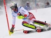 Ramon Zenhäusern führte erstmals das Klassement nach dem ersten Lauf eines Weltcup-Slaloms an (Bild: KEYSTONE/EPA/ANGELIKA WARMUTH)