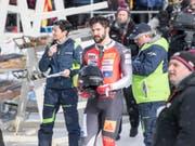 Michael Vogt (21) im Zielraum in St. Moritz (Bild: KEYSTONE/URS FLUEELER)