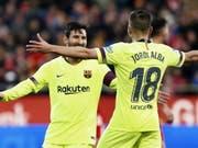 Lionel Messi und Jordi Alba bejubeln den 2:0-Sieg des FC Barcelona in Girona (Bild: KEYSTONE/EPA EFE/ANDREU DALMAU)
