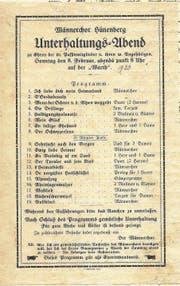 Der erste Unterhaltungsabend fand am 8. Februar 1920 statt (Bild PD)