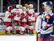 Ausgleich 29 Sekunden vor Schluss, Siegtor in der Verlängerung: Lausanne jubelt im Hallenstadion (Bild: KEYSTONE/ENNIO LEANZA)