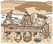 Zur Goldgewinnung benutzten bereits die Helvetier einen sogenannten Waschtisch: Ein Holzkanal mit einem Boden, der feine Löcher enthielt. (Illustration: Oliver Marx)