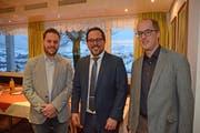 Der neue Vizepräsident Peter Knöpfel, Präsident Stephan Sutter und der scheidende Erich Haas. (Bild: Karin Erni)