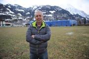 OK-Präsident Josef Loretz auf der «Bärenmatt» in Schattdorf, wo die Viehausstellungen 2019 stattfinden. (Bild: Urs Hanhart, Schattdorf, 30.Januar 2019)