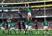 Rugby zieht während der Six Nations die Massen in den Bann: Schottland und Irland versuchen nach dem Einwurf den Ball zu fangen. (Bild: Brian Lawless/AP (Dublin, 10. März 2018))