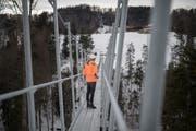 Die Hängebrücke ist nur einen Meter breit. (Bild Benjamin Manser, 30. Januar 2019)